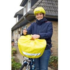 M110415 Lime yellow - Reflective rain cover for bicycle basket - mbw